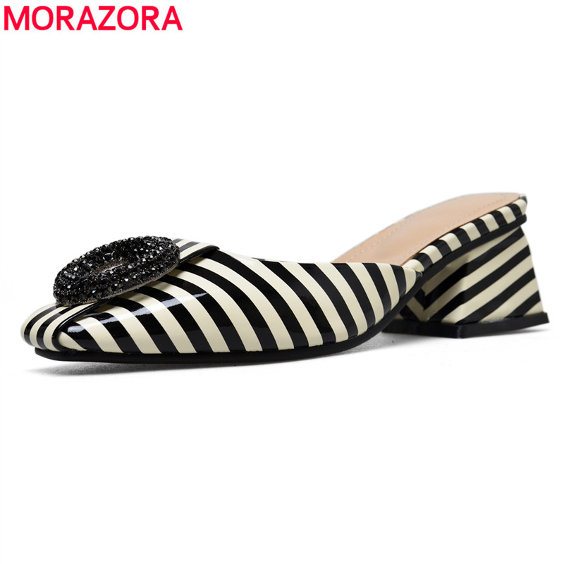 MORAZORA Size 34 43 HOT 2019 New patent leather women slippers Striped summer dress shoes ladies