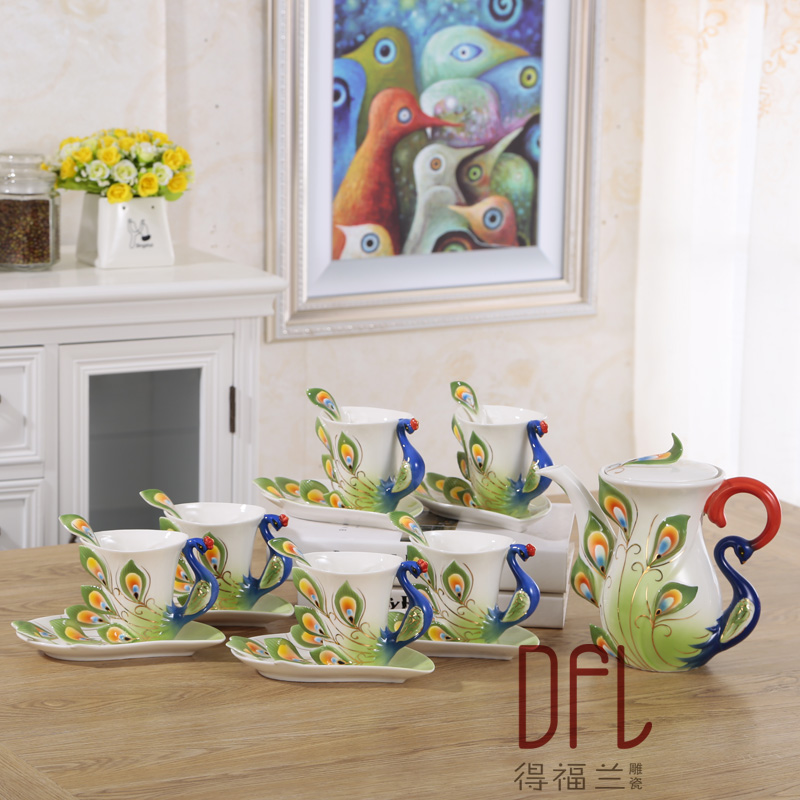 Créative paon tasse européenne café thé ensemble os chine en trois dimensions peinture céramique tasse à thé