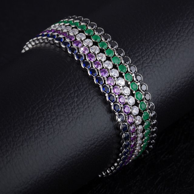 Round 3mm Cubic Zirconia Tennis Women's Bracelet Clear Blue Green Purple Black Birthstone Imitated Crystal Jewelry, WY969