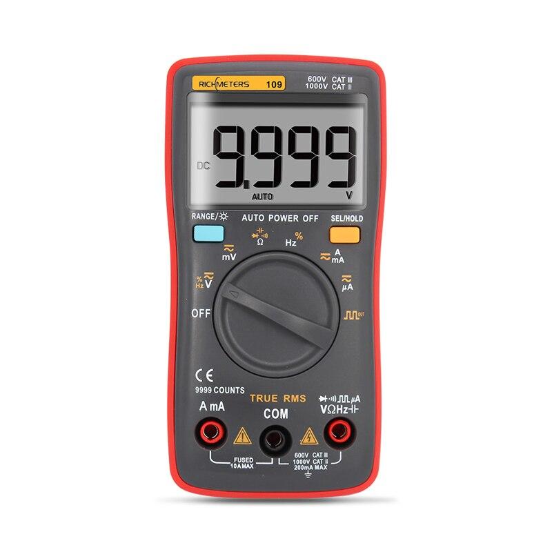 RM109 multímetro Digital, 9999 cuentas Mini rango automático verdadero RMS de onda cuadrada de tensión AC DC amperímetro actual Ohm Auto Manual