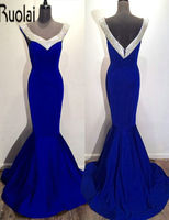 Royal Blue Satin V Neck Sleeves Mermaid Sexy Floor Length Formal Evening Dresses Custom Made For