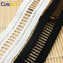 3 metros 3.0 cm branco preto rendas guarnições applique leite seda para o traje guarnições têxteis domésticos costura tecido de renda cusack