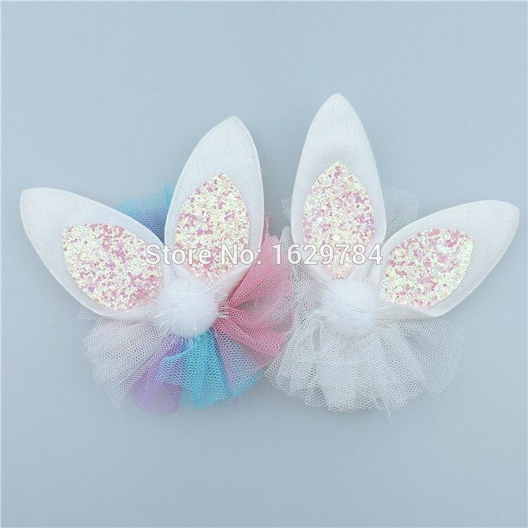 Retail Fashion Solid Cute Glitter Rabbit Ears Girls