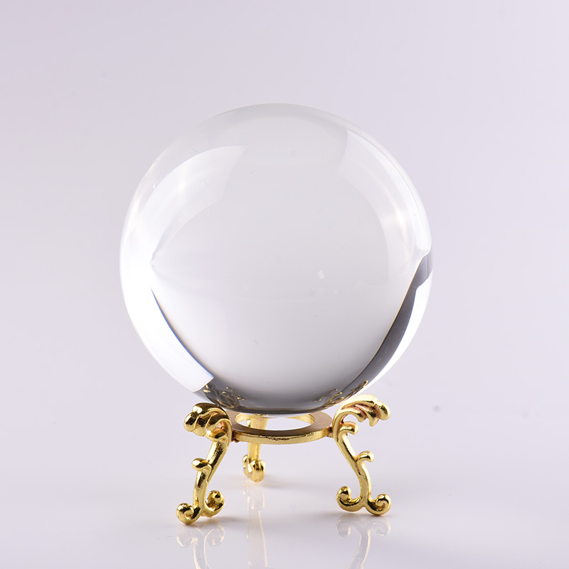 YUNGE 80mmCrystal Ball Ornament With Metal Stand for Fengshui Divination Sphere Home Decor Good Luck Gift Crystal souvenir