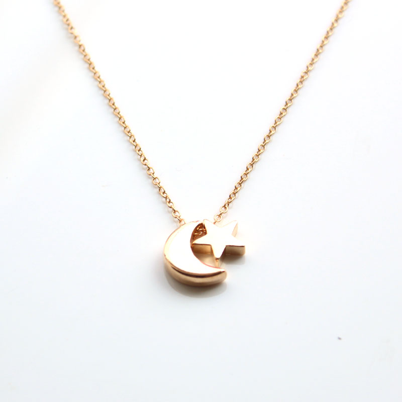 hzew necklace silver Moon Star nice Simple Necklace star moon ...
