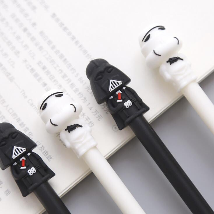 2 pcs/lot Star Wars Black White Warrior Gel Pen Signature Pen Escolar Papelaria School Office Supply Promotional Gift 4 pcs lot novelty lovely my neighbor totoro gel ink pen papelaria escolar school office supply promotional gift signature pens