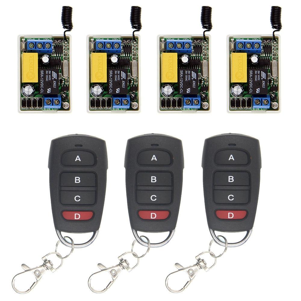 Mini Size 220V 1CH 1CH 10A Wireless Remote Control Switch Relay System ,(4 Receiver + 3 Transmitter),315 433 MHz,Self-lock дистанционный выключатель 3000 dc12v 1ch 1 4 315