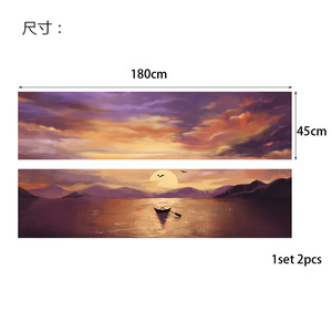 Image 2 - Setting Sun Beautiful Lake Scene Newest Fashion Wall Decal Wholesale Headboard Dorm Decor Bed Frame Vinyl Family Art Sticker