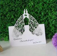 100pcs/lot Two Peacock Design Table Card Laser Cut Paper Place Card Guest Name Holder Wedding Party Feast Favors wc409