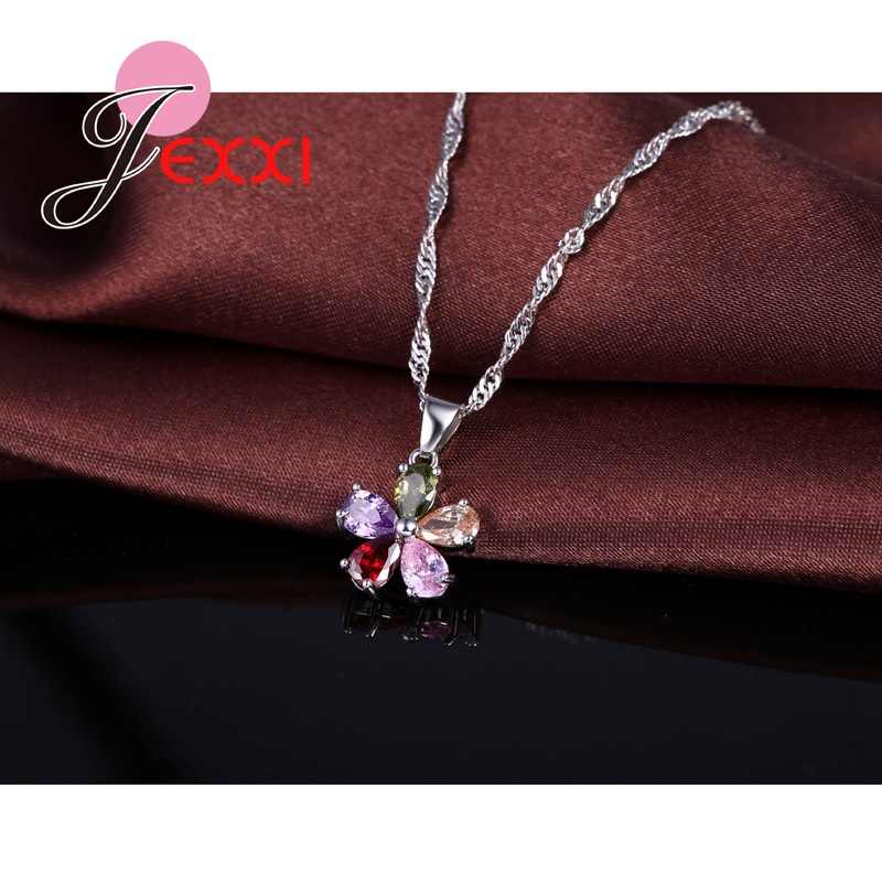 Top Quality Jewelry Set Shining Colorful Cubic Zircon Crystal Flower Necklace Earrings Rings Sterling Silver Bridal Sets