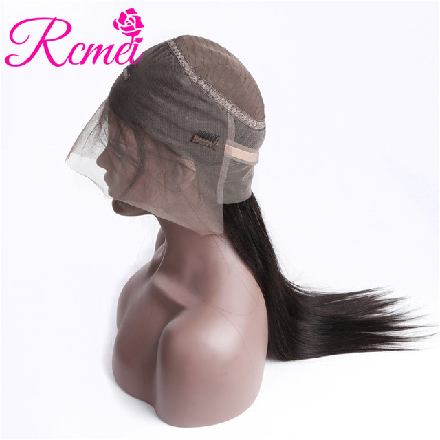Rcmei 360 Lace Frontal Human Hair Wigs For Black Women Indian Straight Remy Hair 150% Density Natural Hairline Lace Front Wigs
