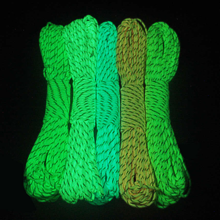 CAMPINGSKY Glow In the Dark Paracord สะท้อนแสง 9 Strands 5 สี Survival Parachute Cord
