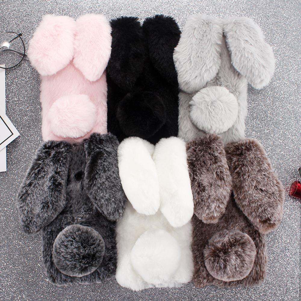 Rabbit Fur Silicone P Smart Cases For Huawei Nova 4 3 P20 Pro <font><b>GR3</b></font> <font><b>2017</b></font> 2 Lite 3I 3E Plus 2S 2i 5 5i P9 Mini P10 P8 2019 Z Cover image