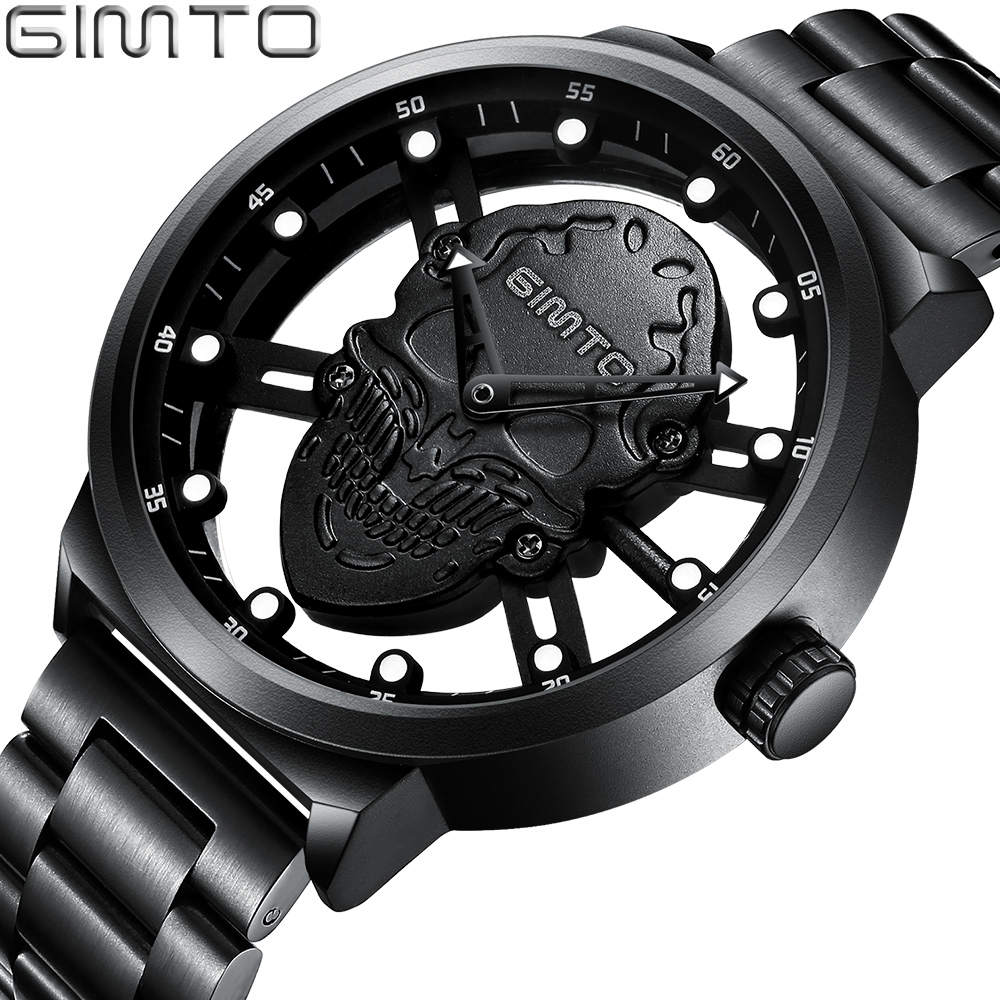 GIMTO Fashion Hollow Men Skull Watch Stainless Steel Unique Punk Stylish Casual Men Wristwatch Popular Waterproof Quartz Watch