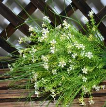 5pcs white little star flower with long leaf bunch artificial greenery plant fake flowers plastic green