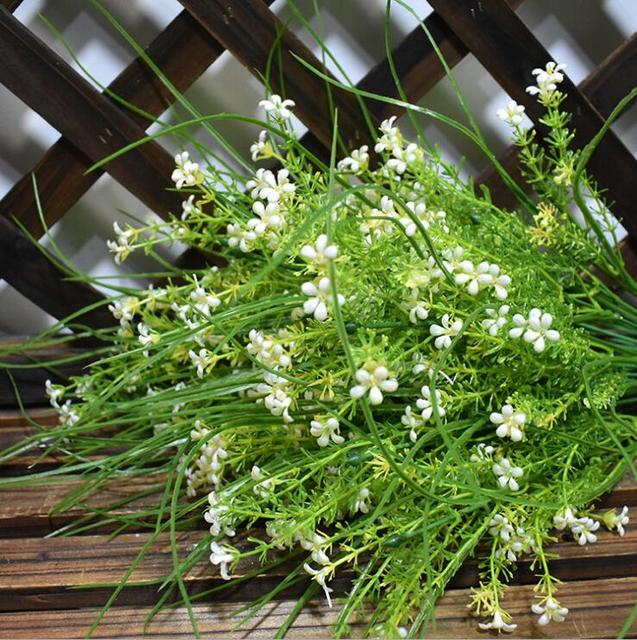 5pcs white little star flower with long leaf bunch artificial flower 5pcs white little star flower with long leaf bunch artificial flower greenery plant fake flowers plastic mightylinksfo
