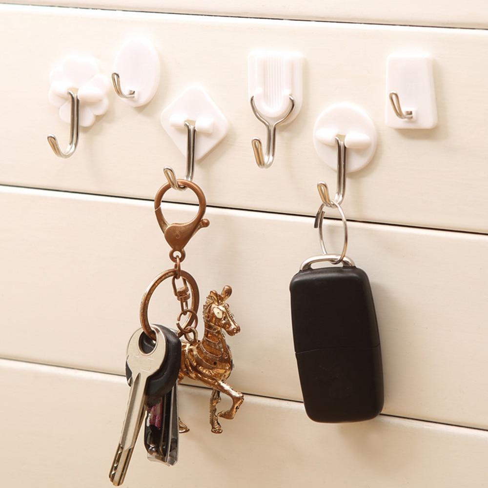 6Pcs Bathroom Kitchen Hooks For Hanging Adhesive Hooks Stick On Wall Hanging Door Clothes Towel Handbag Holder Wall Hanger#es#h