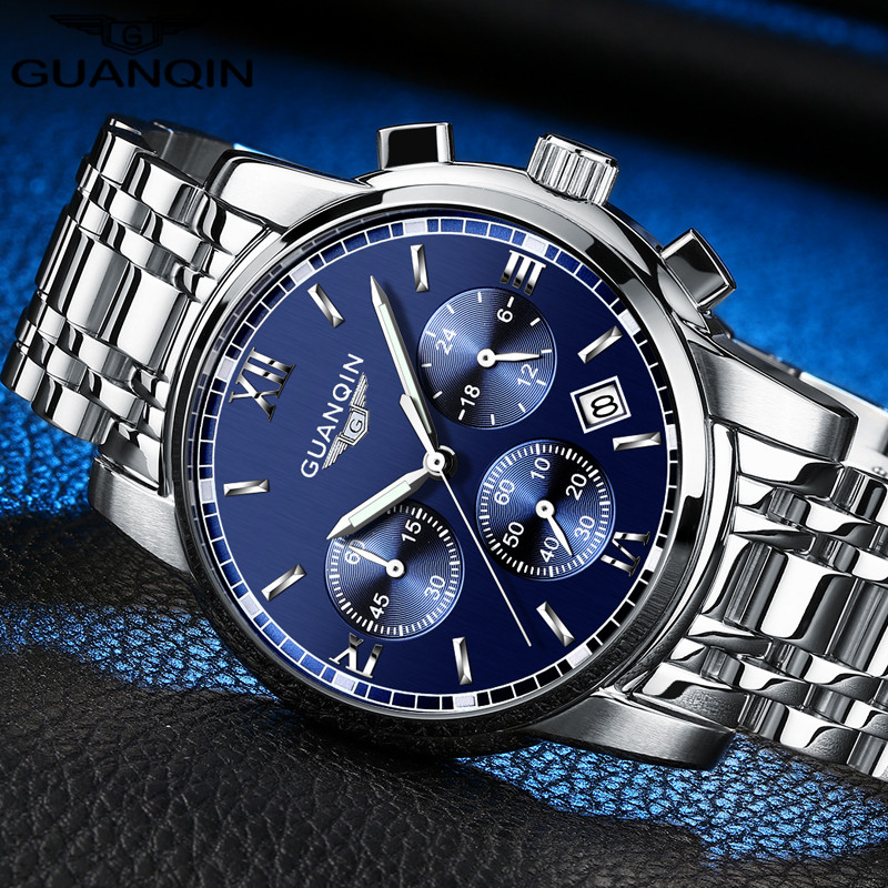 GUANQIN Hot Mens Watches Top Brand Luxury Fashion Business Quartz Watch Men Sport Full Steel Waterproof Wristwatch dropshipping 13 9cm aluminum alloy outdoor sports carabiner w sponge purple