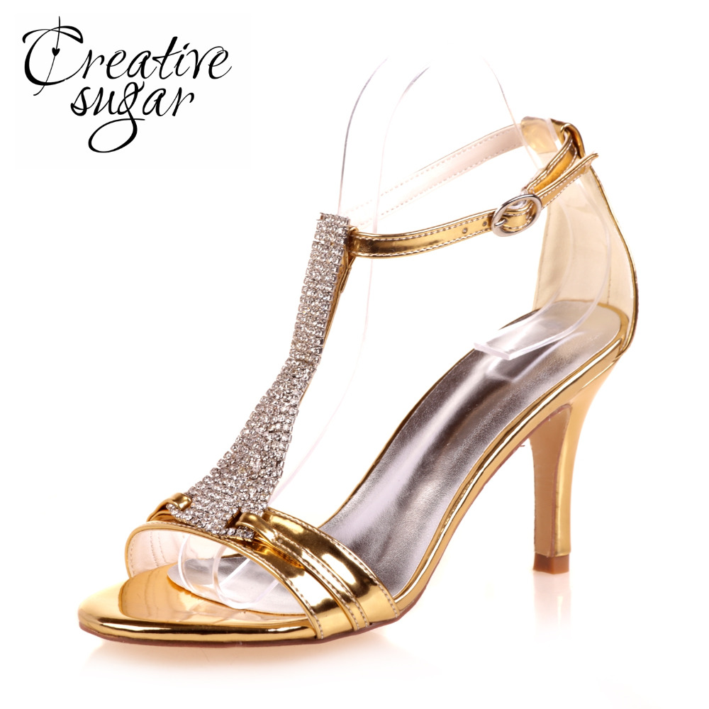 86ed2993c827c Creativsugar lady crystal T strap sandals rhinestone party cocktail dress  sandals Metallic vanish PU gold silver blue shoes heel-in High Heels from  Shoes on ...