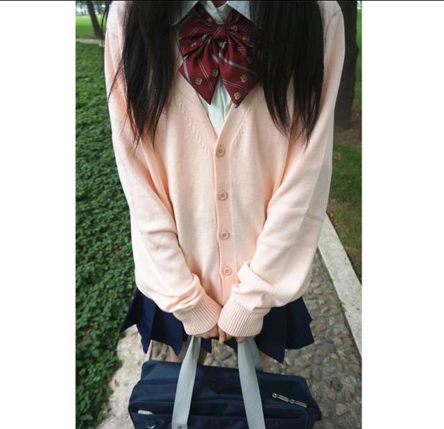 Женщины С Длинными Рукавами Черный Студенты Школьная форма Японский Стиль Девушка Милая Открыть Кардиган V-образным Вырезом Трикотажные Косплей Одежда Свитер
