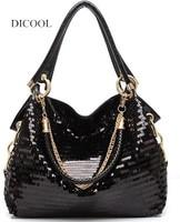 DICOOL 2019 brand fashion pu leather women handbag high quality sequins one shoulder bag balck color