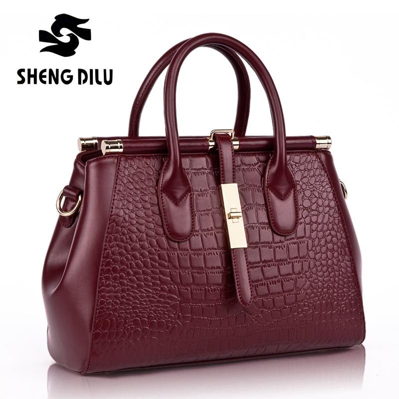 handbag shengdilu brand new 2018 women genuine leather tote Autumn Winter shoulder Messenger bag free Shipping shengdilu brand new 2017 100