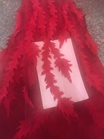 Nupcial Del Cordón Africano 3d Tela de Encaje Con Cuentas de Alta Calidad Rojo Apliques de Encaje Bordado de Tela de Tul Para Cordón Africano CD1845