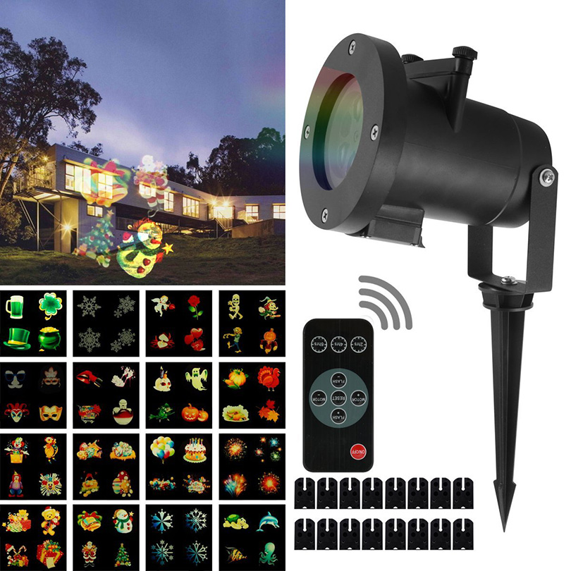 16 Patterns Waterproof Snowflake Laser Projector Lamps LED Stage Light Christmas Party Landscape Garden Lamp Outdoor Lighting недорого