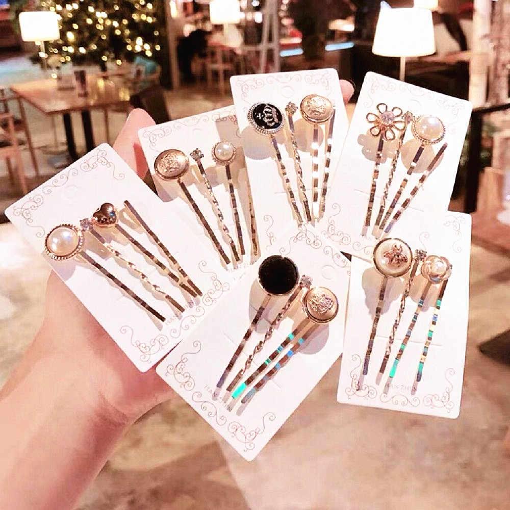 Gold Korean Imitiation Pearl Hairpins Women Hair Accessories Vintage Hair Clips Pearl Hairpins Flower Heart Shape Hair Clips
