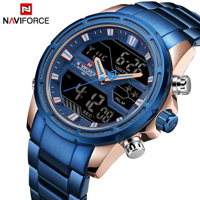 NAVIFORCE relojes deportivos para hombre, reloj Digital LED de cuarzo, de pulsera militar de acero completo, Masculino