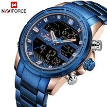 Naviforce relógio de pulso militar de aço completo relógio de pulso masculino relógio de quartzo led digital masculino