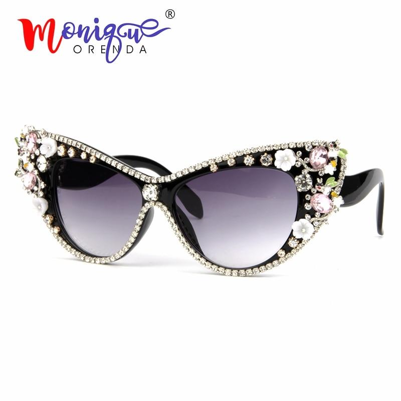 0d5615a3994 2018 Oversized Sunglasses Women Luxury Brand glasses Jewelry Decoration Cat  Eyes Sunglasses Vintage Shades Eyewear Oculos