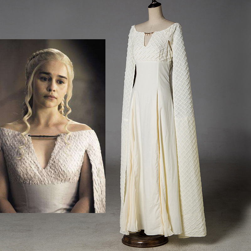 Daenerys Targaryen Dress Game of Thrones 5 Sexy Cosplay Costumes White Long Halloween Party Dress Ball Gowns for Women Lady