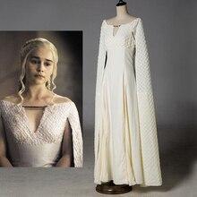Daenerys Targaryen Vestito Game of Thrones 5 Sexy Costumi Cosplay Bianco  Lungo di Halloween Vestito Da Partito Degli Abiti di Sf.. 73c4528ed0f