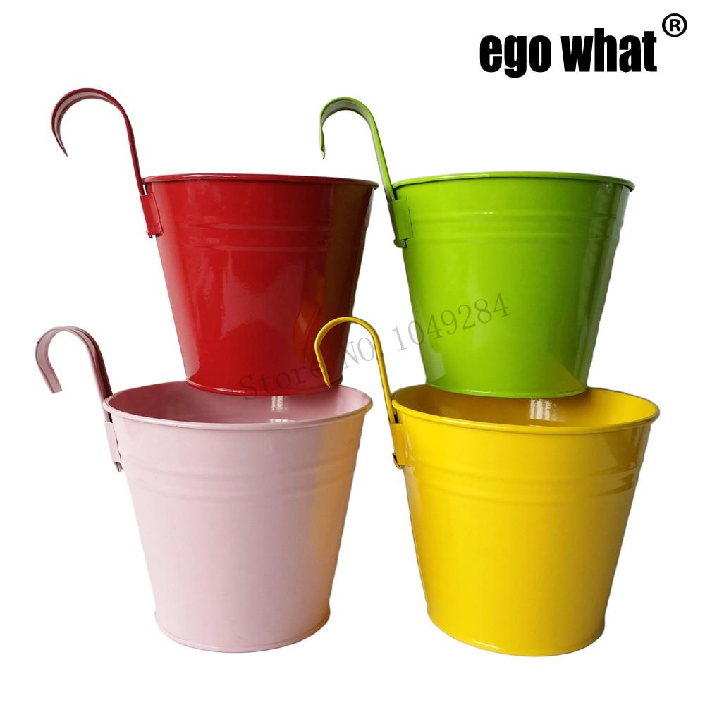 Free Shipping 20Pcs Lot Hanging Garden bucket tin box Iron pots Flower metal Planter Mixed Color