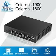 Mini PC безвентиляторный 4 LAN маршрутизатор брандмауэра Celeron J1900 4 ядра pfsense Linux промышленный компьютер сети VPN Windows 7 VGA 4 RJ45