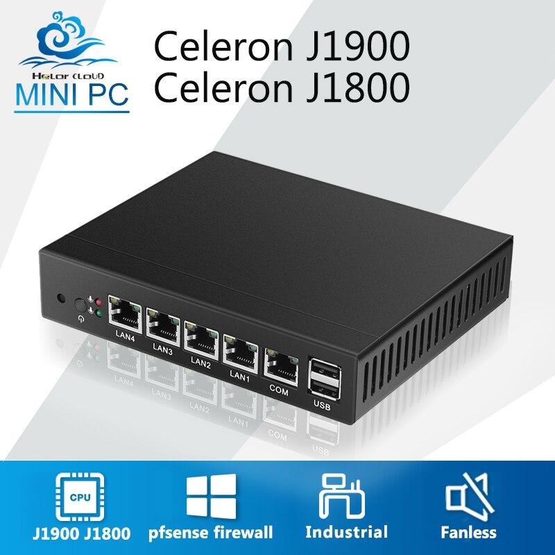 Mini PC Fanless Celeron 4 LAN Router Firewall J1900 Quad Core pfsense Linux Computer Industriale VPN Rete Finestre 7 VGA 4 RJ45