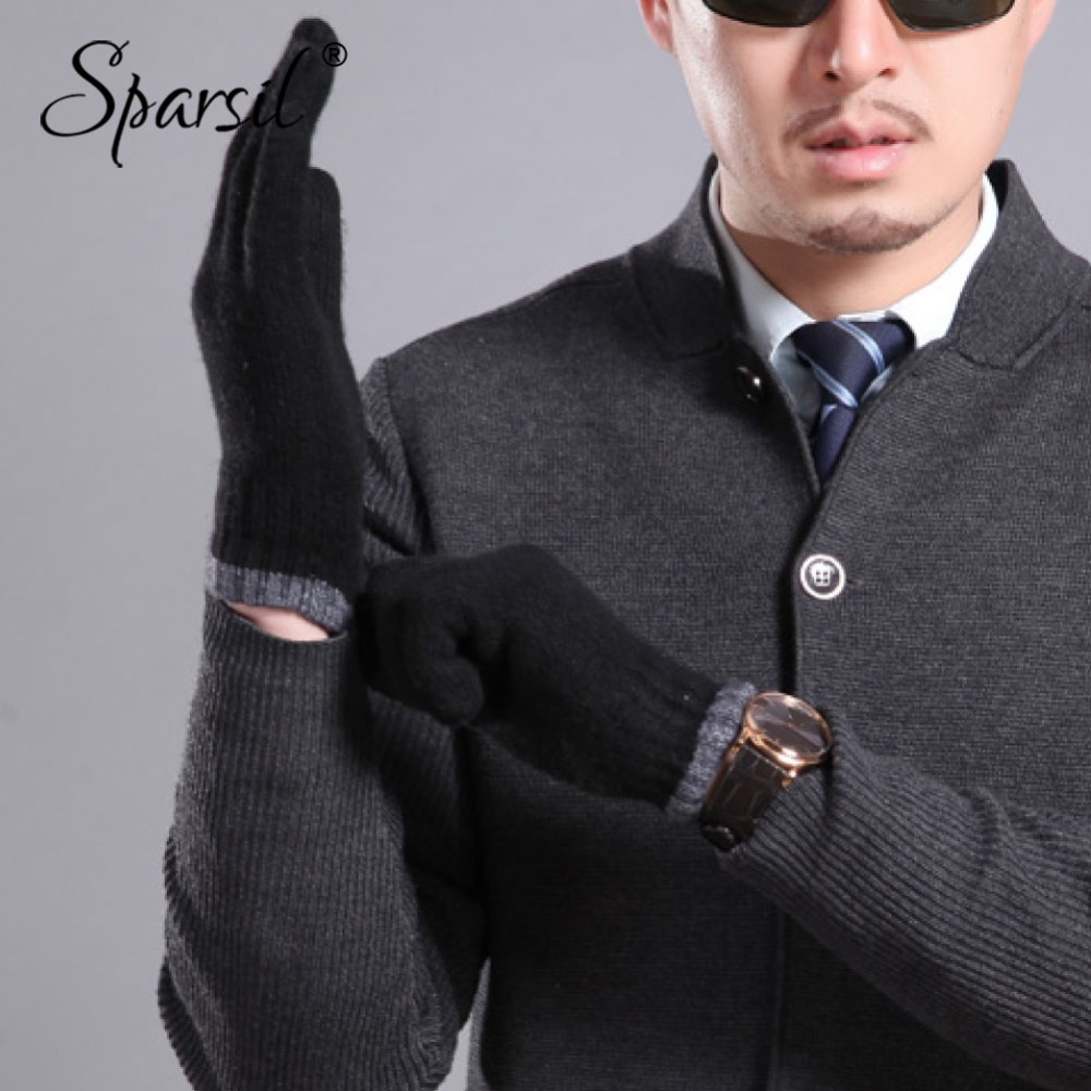 Sparsil Men Autumn Winter Full Finger Cashmere Gloves Wrist Wrap Hand Warmer Knit Wool Glove Male 5 Fingers Short Mittens