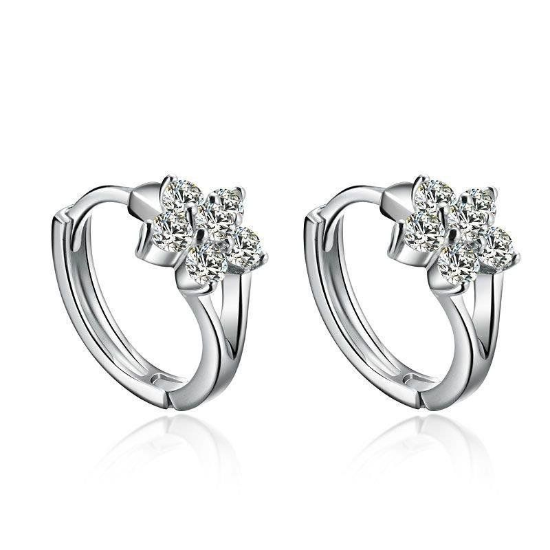 Mode Perak Stud Earrings Wanita Lucu Snowflake Florid Earrings Berlian Imitasi Mewah Telinga Gesper Perhiasan Grosir