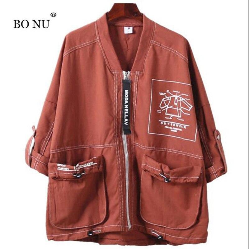 BONU Autumn Loose Large Size Jacket For Women Casual womens windbreaker Big Pocket Harajuku Coat Female loose Streetwear Coats