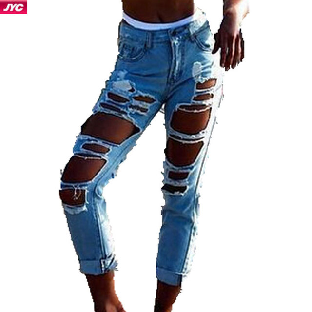 Aliexpress.com : Buy 2015 Summer Capris Ripped Jeans With Holes ...