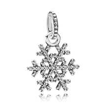 SHINETUNG 1:1 S925 Sterling Silver PAN Color Sparkling Snowflake Pendant Fit Women's Fashion Jewelry