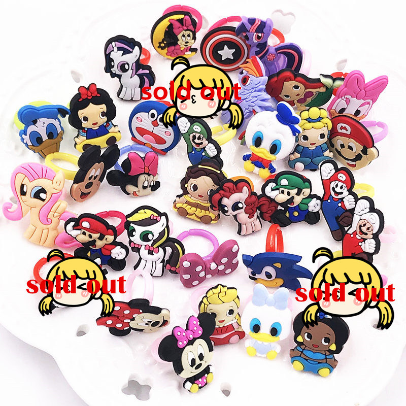 6 Pcs Mixed Color Cartoon Mermaid Rings Silicone Rings for Kids Finger Jewelry
