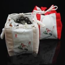 Lotus Thicken 5 Grid Storage Pouch Jewellery Bags and Pouches Drawstring Travel Portable Small Tea Pot 4 Cup Linen Cloth Bag