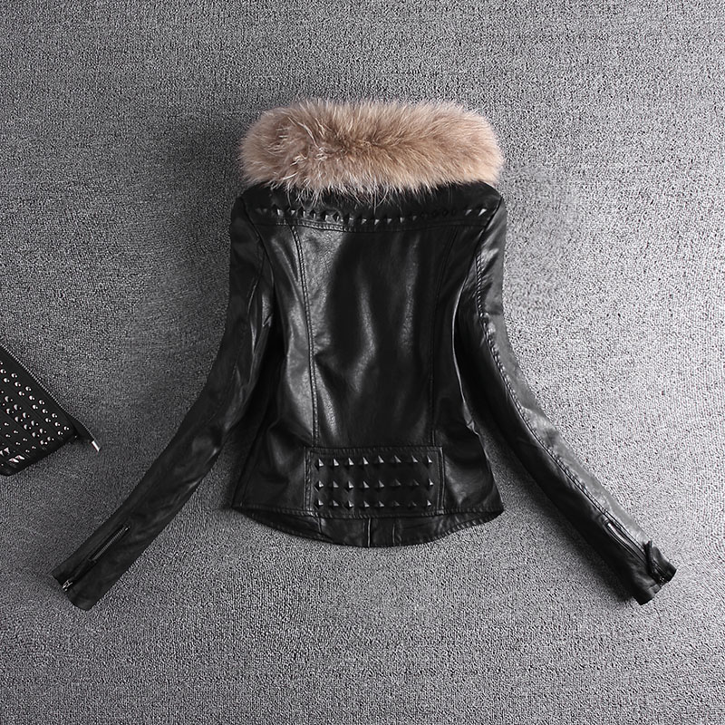 Motorcycle PU Leather Jacket Women Winter And Autumn New Fashion Coat Zipper Outerwear jacket New 2018 Coat HOT Backside Pattern