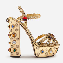 Designer Shoes Heel Embellished Sandals Summer Leather-Block Rhinestone Gold Women Curved
