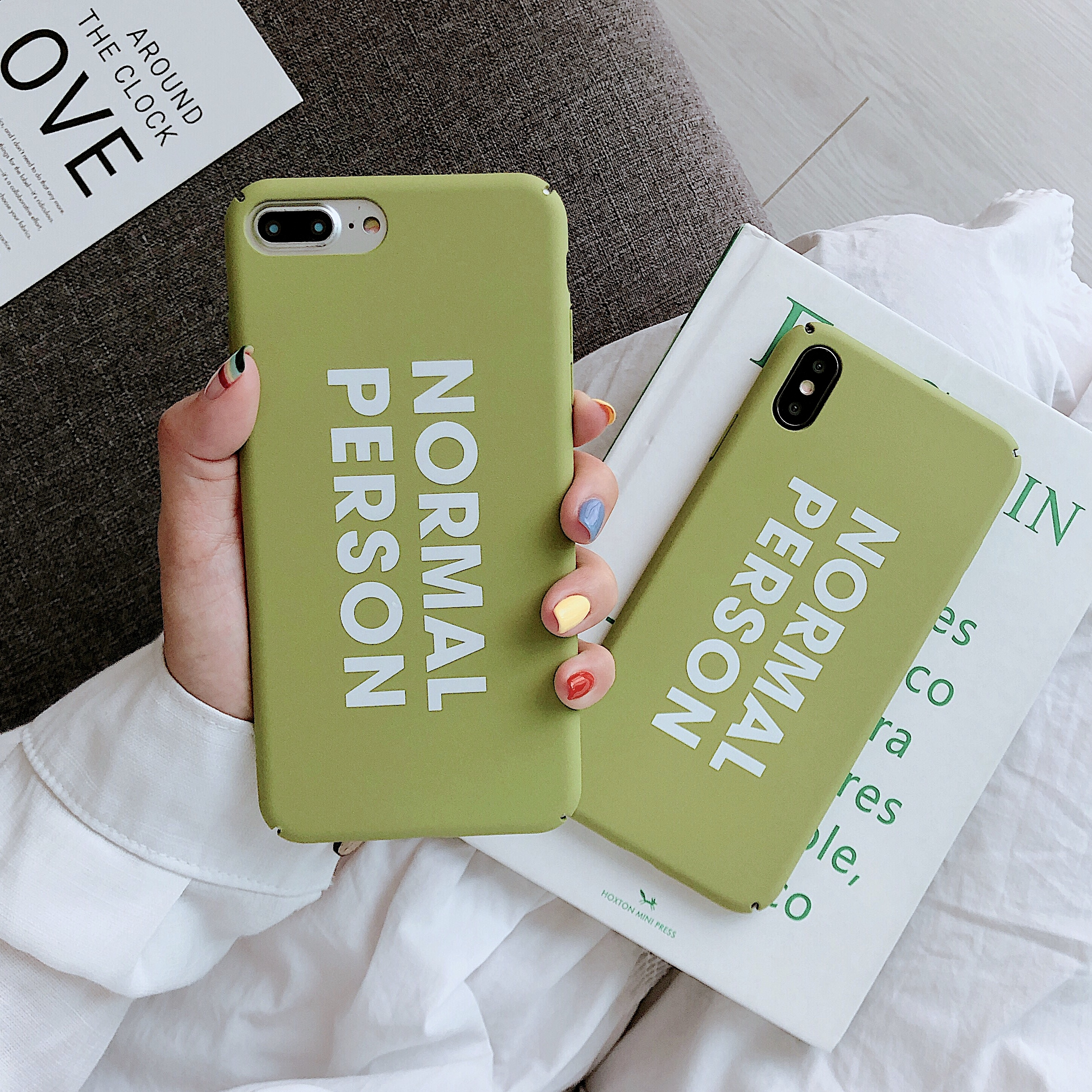 Hard PC case letters NORMAL PERSON for iPhone 7 8 6 s Plus X R S Max Phone fresh plain Matcha Green Case For
