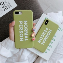 цена на Hard PC case letters NORMAL PERSON for iPhone 7 8 6 s Plus X R S Max Phone case fresh plain Matcha Green Phone Case For iPhone X