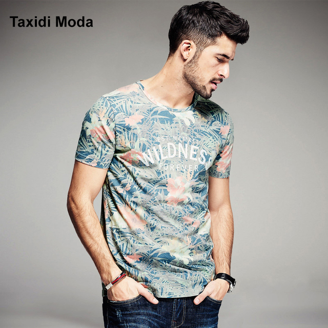2017 Summer Mens Fashion T Shirts Letter Flower Print Green Brand Clothing Man's Short Sleeve T-Shirts Wear Tops Tees Plus Size