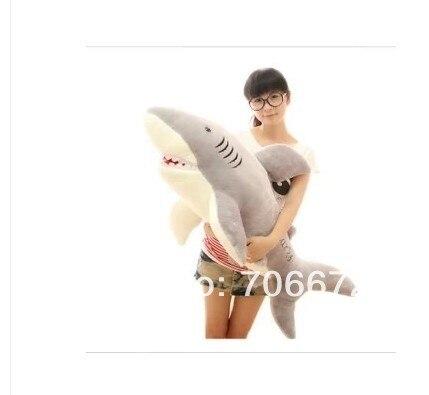 Océan gris requin énorme 120 cm en peluche poupée requin jeter oreiller cadeau d'anniversaire t8890